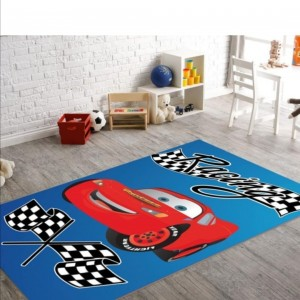 Kırmızı Yarış Arabası Desen Modern Baskılı Kaydırmaz Halı - mbkh3010