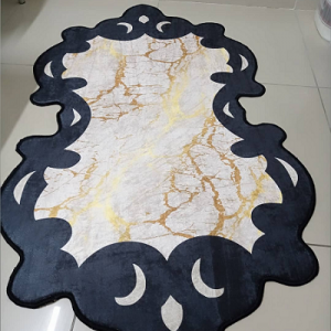 Gold Siyah Lazer Kesim Modern Baskılı Kaydırmaz Halı - mbkh1401
