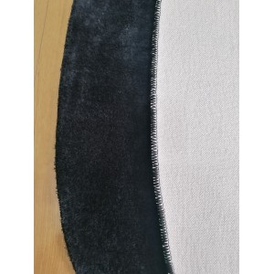 Siyah Oval Tavşan Tüyü Peluş Halı -ph2511