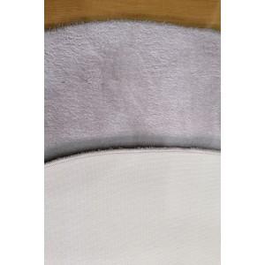 Açık Gri Oval Tavşan Tüyü Peluş Halı -ph2513
