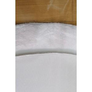 Beyaz Oval Tavşan Tüyü Peluş Halı -ph2516
