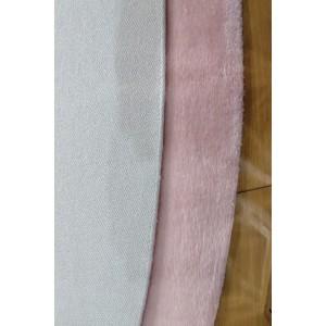Pudra Oval Tavşan Tüyü Peluş Halı -ph2515