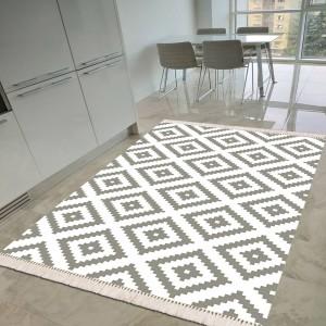 Baklava Beyaz Gri Dekoratif Halı -bbgdh140