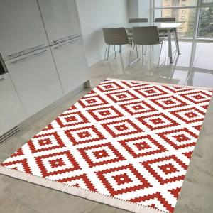 Baklava Beyaz Kırmızı Dekoratif Halı -bbkdh139