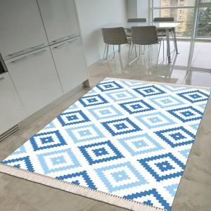 Baklava Beyaz Mavi Dekoratif Halı -bbmdh141