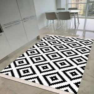 Baklava Beyaz Siyah Dekoratif Halı -bbsdh135