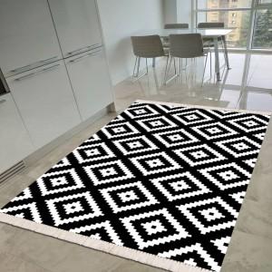 Baklava Siyah Beyaz Dekoratif Halı -bsbdh136