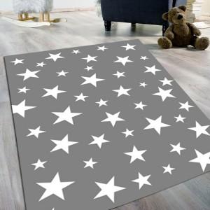 Gri Yıldız Model Kaydırmaz Taban Halı -gymkth094