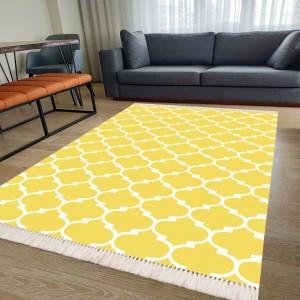 Maça Desen Sarı Dekoratif Halı -mdsdh125