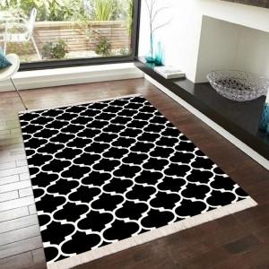Maça Desen Siyah Beyaz Dekoratif Halı -mdsbdh128