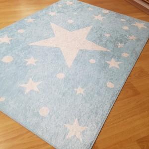 Mavi Yıldız Model Kaydırmaz Taban Halı -mymkth089