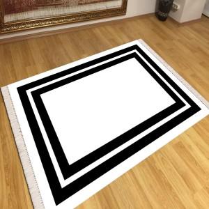 Beyaz Siyah Modern Kaydırmaz Taban Dekoratif Halı -mktdh200