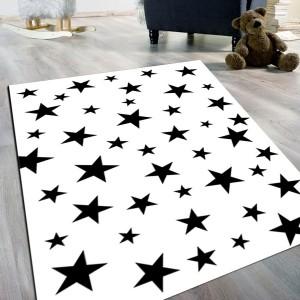Yıldız Beyaz Siyah Kaydırmaz Taban Halı -ybskth097