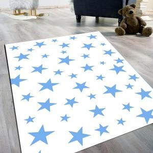 Yıldız Desen Mavi Kaydırmaz Taban Halı -ydmkth102