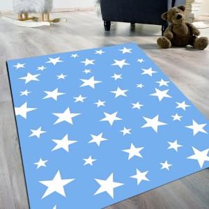 Yıldız Desen Mavi Kaydırmaz Taban Halı -ydmkth103
