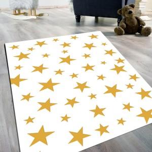 Yıldız Desen Sarı Kaydırmaz Taban Halı -ydskth100