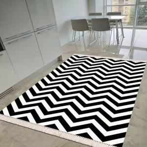 Zikzak Beyaz Siyah Dekoratif Halı -zbsdh130