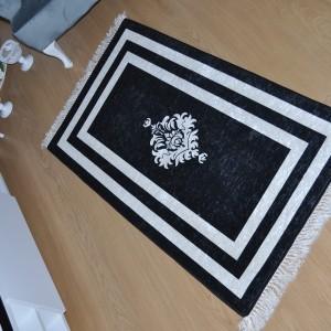 Modern Baskılı Siyah Beyaz Kaydırmaz Halı - mbsbkh198